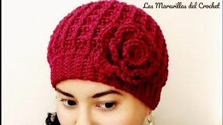 👩Gorro a Crochet(ganchillo) Para Mujer 🖤 Punto Waffle e5d93db534a