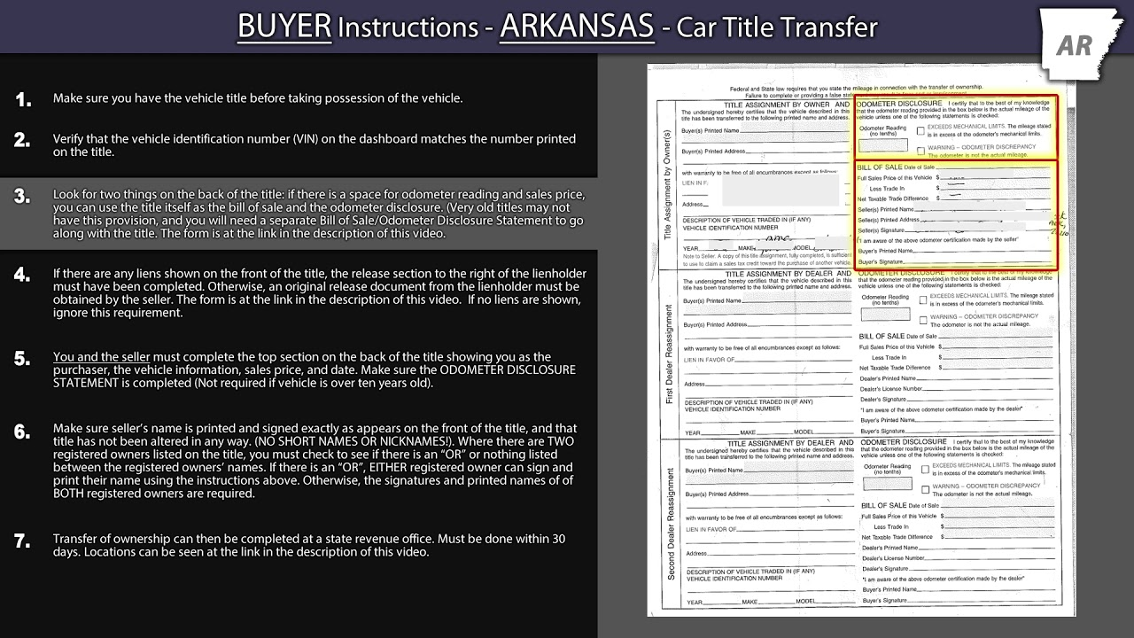 Arkansas Title Transfer - Buyer Instructions
