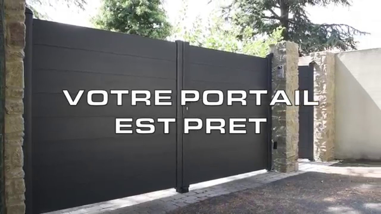 montage d 39 un portail battant alu line youtube. Black Bedroom Furniture Sets. Home Design Ideas