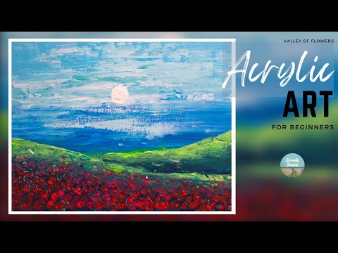 Valley of flowers abstract painting | Abstract acrylic painting for beginners | Art of acrylic 6