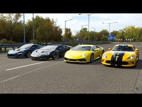 Forza Horizon 4 Cover Car Drag race: Viper GTS vs Lamborghini Huracan vs Centenraio vs McLaren Senna