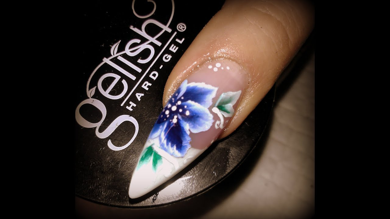 Nail art blue flower- ONE STROKE design - UV Gel Nail