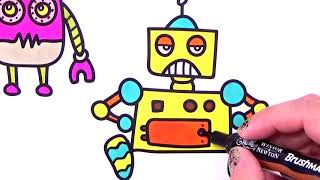 # How to draw Robot. Coloring Pages characters. Learning drawing creativity for Kids with markers