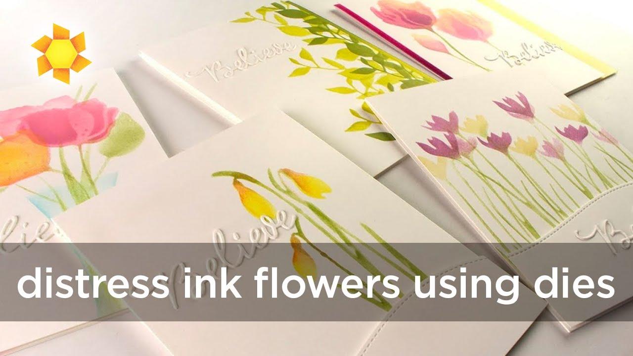 Distress Ink Flowers (Dies by Alexandra Renke) - YouTube  Distress Ink Fl...