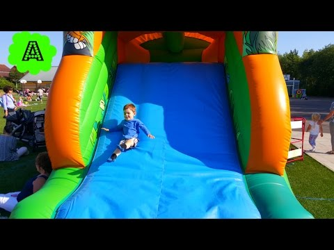 Thumbnail: Kids Play on Giant Bouncy Castle/Five little babies jumping on the bed Song/Nursery Rhymes/Outdoor