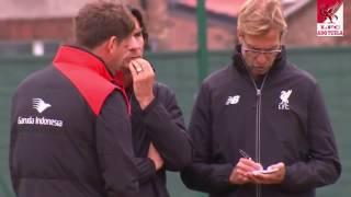 Jurgen Klopp with assistants in training at Melwood
