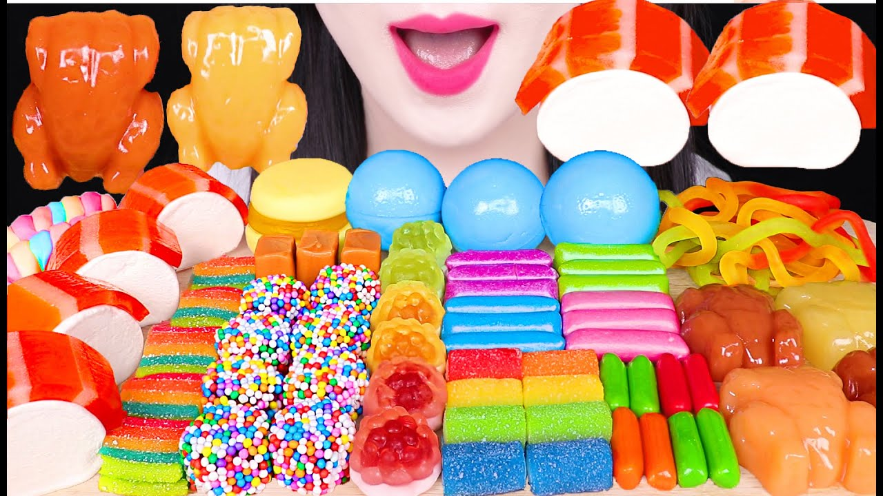 ASMR RAINBOW JELLY GUMMY PARTY *CHICKEN GUMMY, RAINBOW GUMMY 초밥 젤리, 통닭 젤리 먹방 EATING SOUNDS