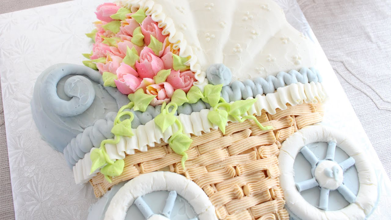 Carriage Pram Stroller Russian Flower Piping Tips On A Buttercream Cake How To