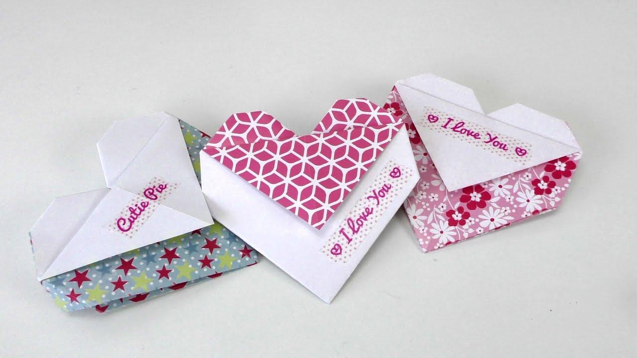 origami herz falten diy geschenk tasche oder umschlag doovi. Black Bedroom Furniture Sets. Home Design Ideas