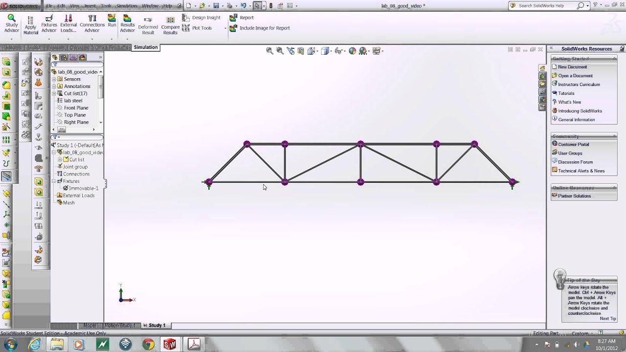 SolidWorks: model a bridge truss - YouTube