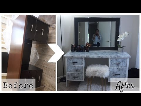 BEFORE & AFTER TRANSFORMATION | DIY DESK TO VANITY | Keke J.