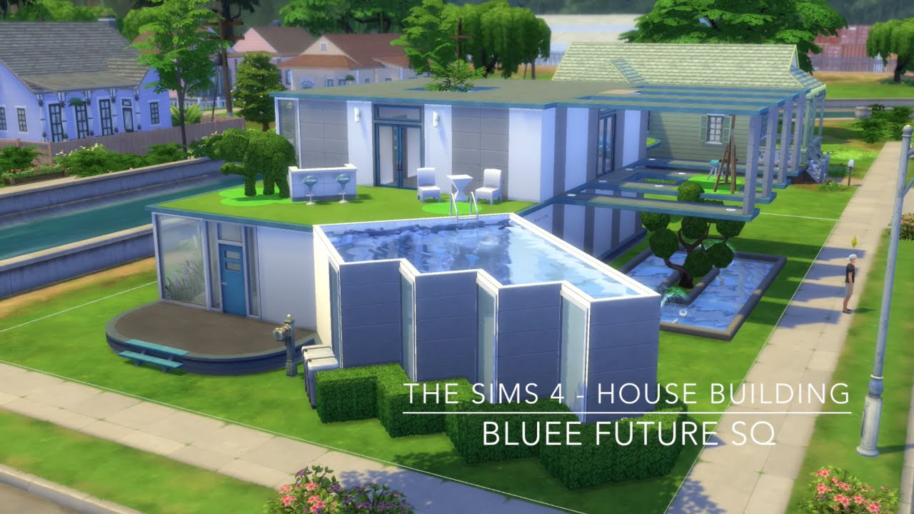 The sims 4 house building bluee future sq youtube for Modern house design the sims 4