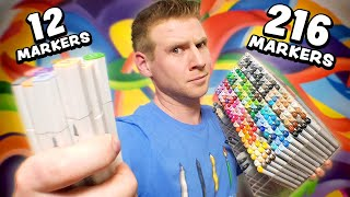 12 Markers Vs. 216 COPICS!? - Can they Keep Up?