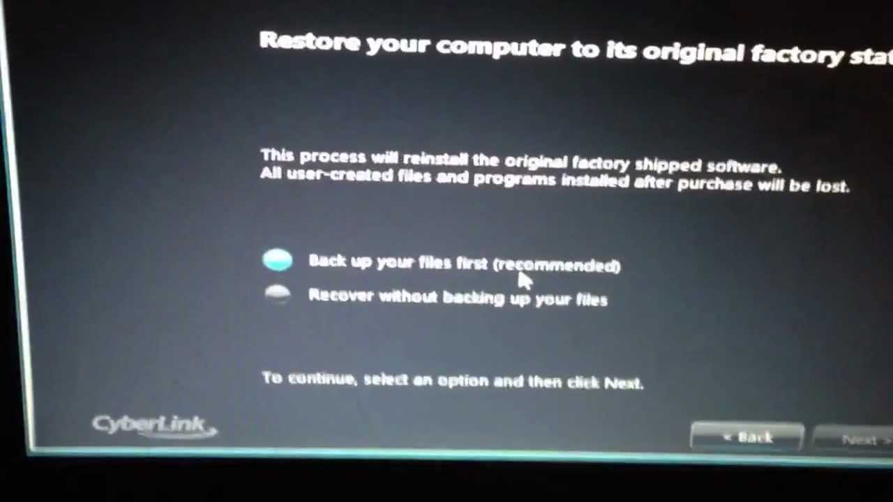 factory reset compaq laptop without password