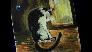 Уроки рисования (№ 75) масляными красками. Рисуем красивый силуэт кошки и гармонизируем тона