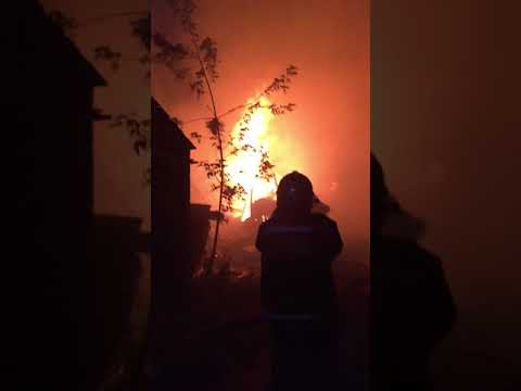 Пожар Электросталь 18.07.2018 гаражи