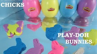 DIY Play-Doh Chicks and Easter Bunnies.  Cookie Stamps and Beautiful Colors in Spring Eggs
