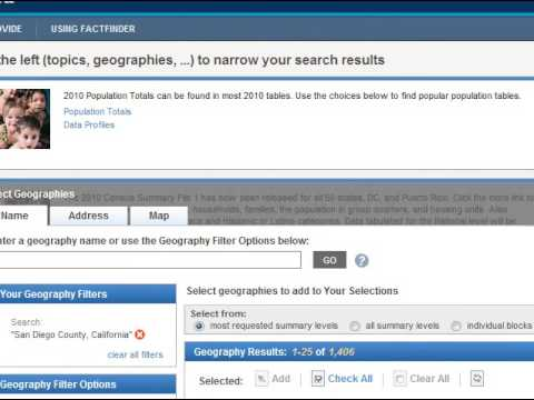 Using the American Fact Finder - Census tool