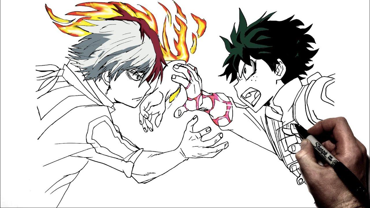 photo How To Draw My Hero Academia Characters Deku how to draw deku vs todoroki step by step my hero academia