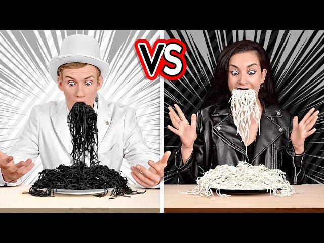 """تحدي """"اللون الأبيض"""" مقابل """"اللون الأسود""""! تناول وشراء كل شيء بلون واحد لمدة 24 ساعة!"""