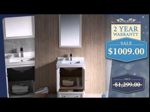 24 Inch Single Sink Bathroom Vanity in Antique White - uniquevanities.com