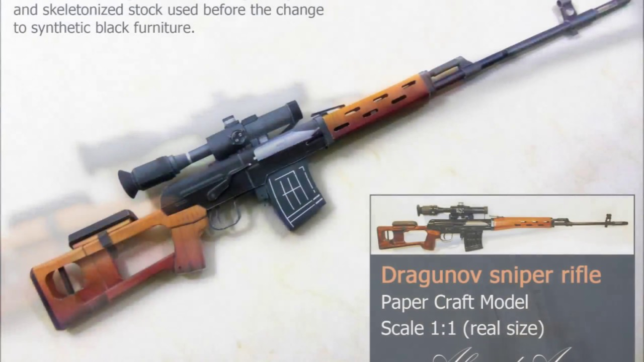 Papercraft paper craft model for Dragunov Sniper