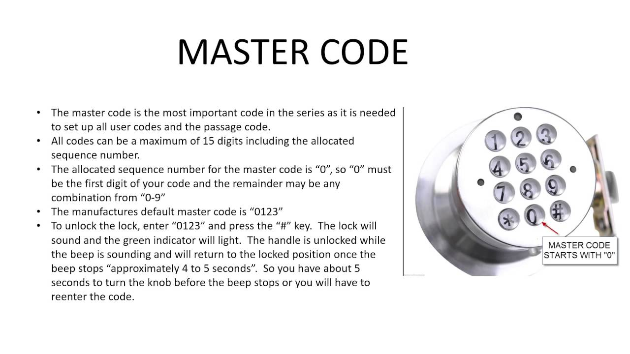 How To Change A Door Knob >> Part 2 How To Change The Master Code On Digital Electronic Code Door Lock Round Knob Turbolock ...