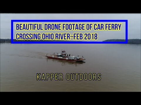 Drone Video of Car Ferry Crossing the Ohio River~KY to IL