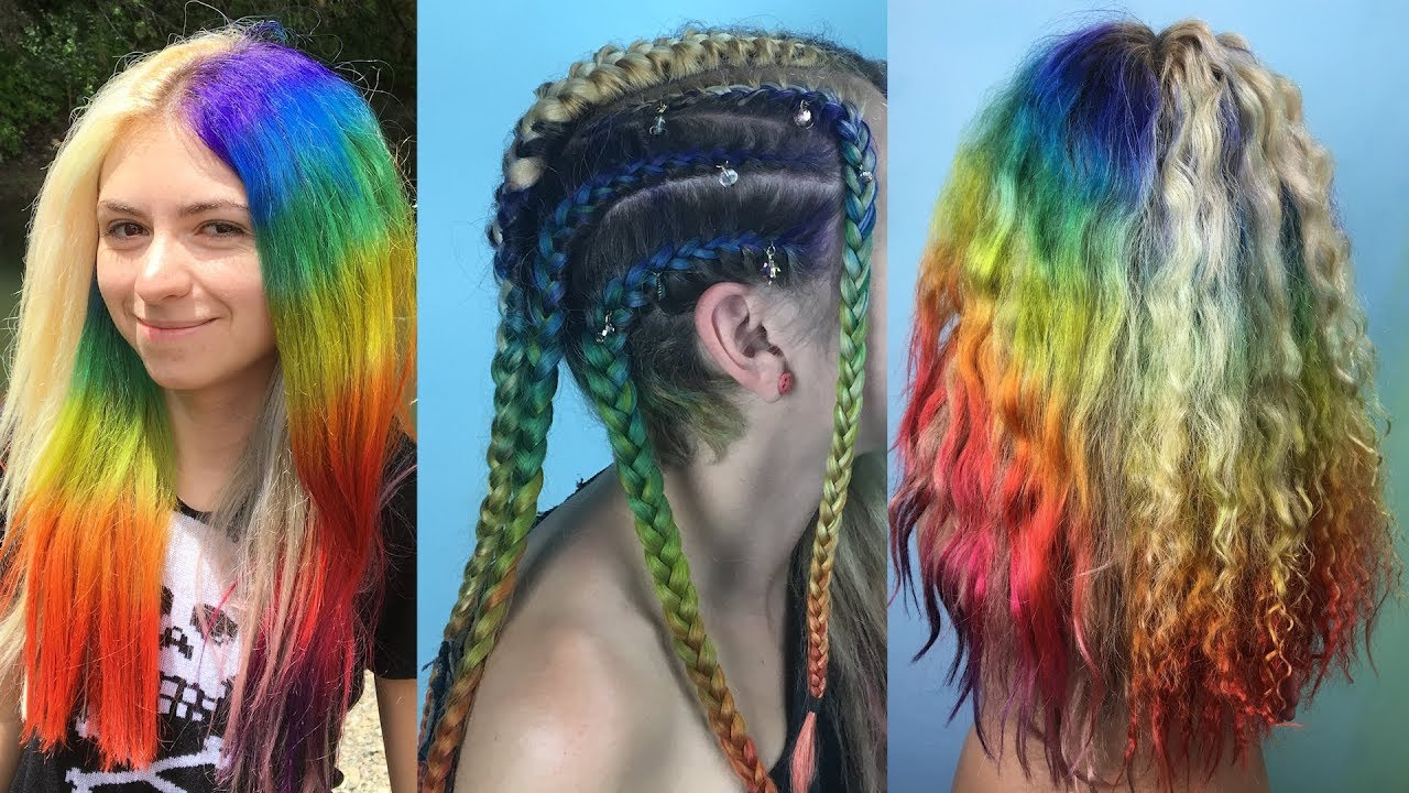 Rainbow White Amp Silver Hair Braids Too Youtube