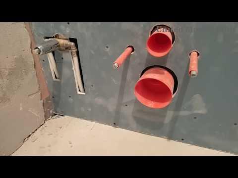 обшивка инсталляции, крепление для крана, ниша для шкафа. Монтаж гипсокартона в ванной.