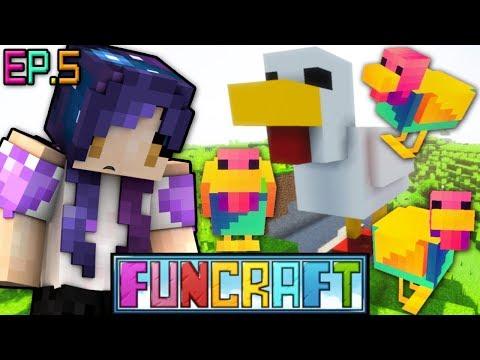 RAINBOW Chicken Dungeon & Getting Wings!!   FunCraft Minecraft Ep. 5