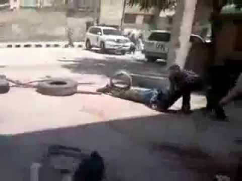Syria Idlib 15-05-2012 An UN observer creeping for his life