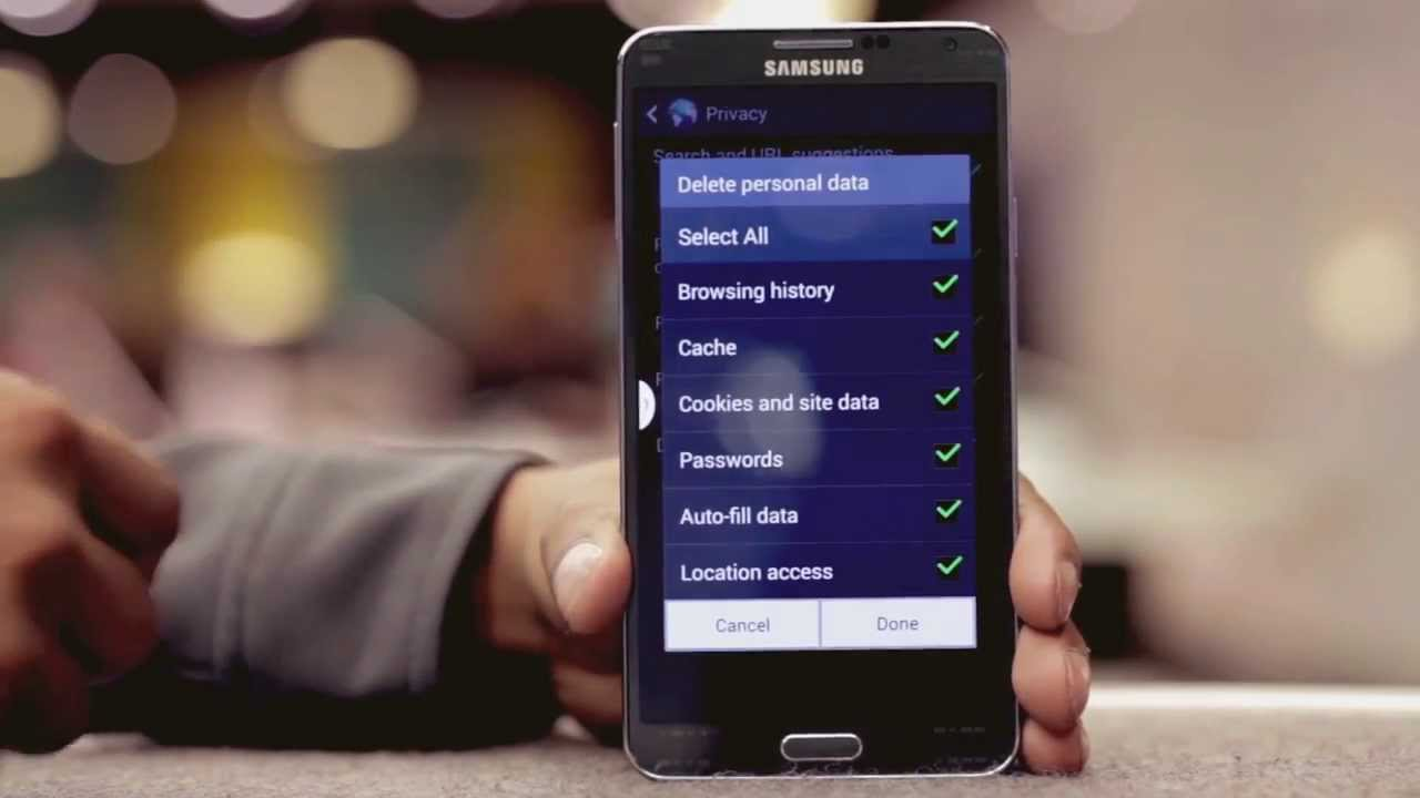 Ee  Samsung Galaxy Note 3  How Do I Clear Cookies, Cache And Internet  History?  Youtube