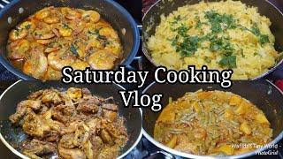 Saturday Cooking Vlog||Quail Vhuna||Shrimp Curry||Cabbage Vhaji