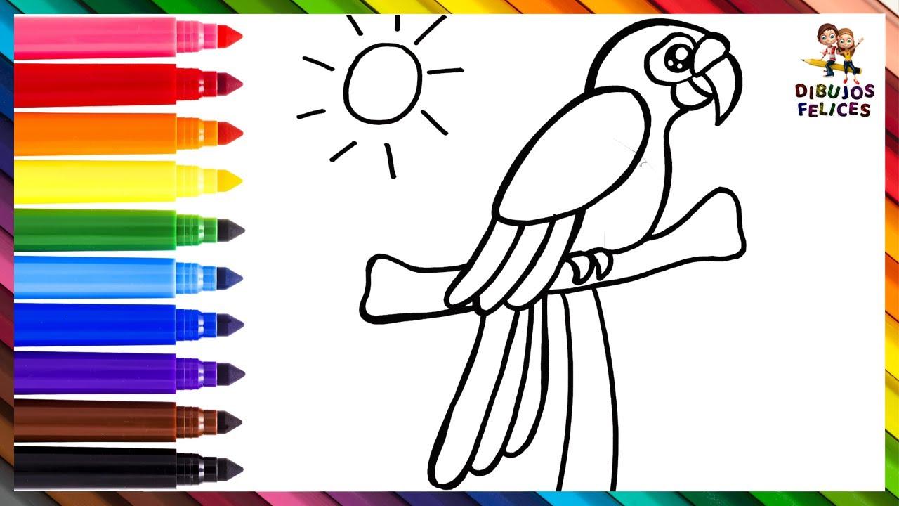 Cómo Dibujar Un Loro 🦜 Dibuja y Colorea Un Lindo Loro Arcoiris 🌞🌈 Dibujos Para Niños