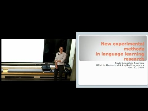 New experimental methods in language learning research