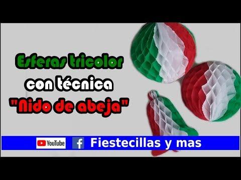 """Esferas tricolor con técnica """"Nido de abeja"""" para Fiesta mexicana"""