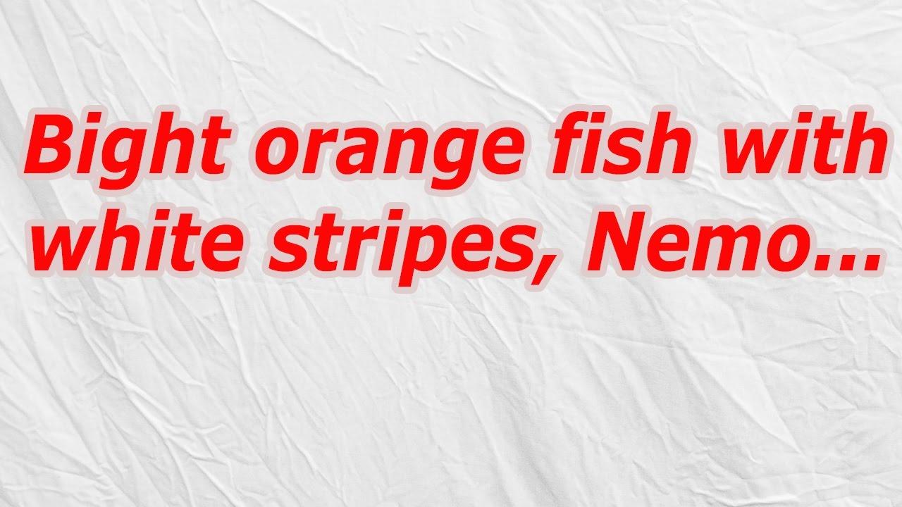 Bright orange fish with white stripes, Nemo (CodyCross Crossword ...
