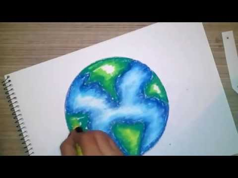 How to draw and color a globe using oil pastels for kids
