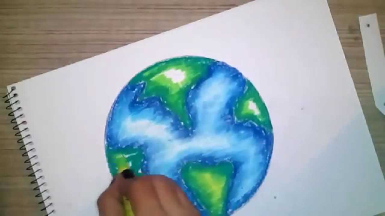 how to draw and color a globe using oil pastels for kids youtube