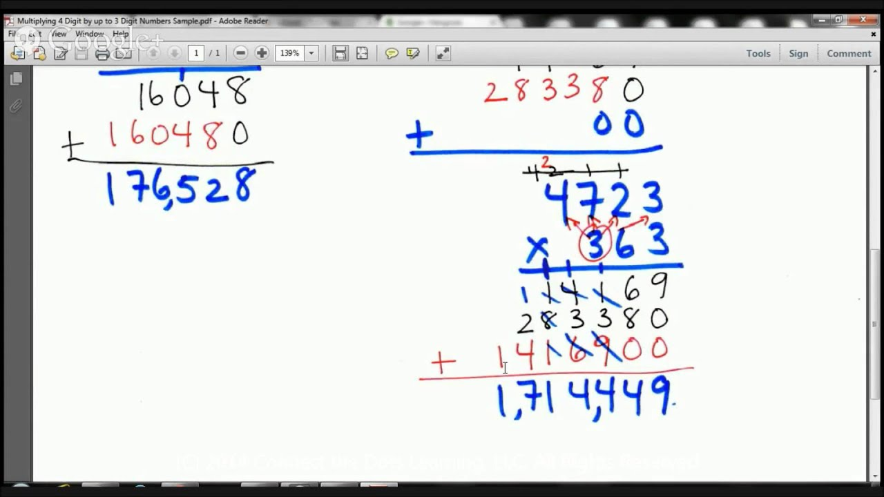 5th Grade Multiplying 4 Digit By 3 Digit Numbers Lesson Fullerton Tutoring Services