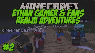 ETHAN GAMER + FANS MINECRAFT REALM ADVENTURES #2