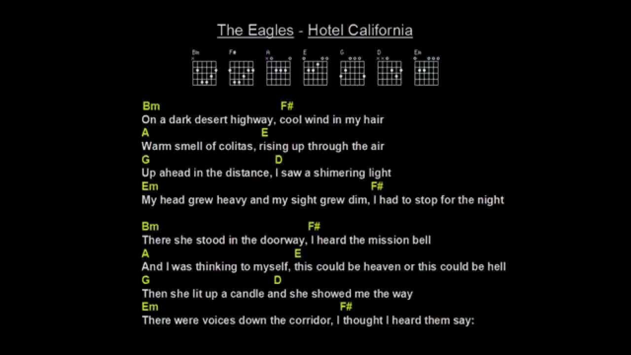 Guitar chords and lyrics for hotel california