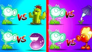 Plants vs Zombies 2 Electric Peashooter vs Cactus, Lightning Reed, Laser Bean, Fire Peashooter