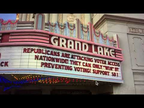 Allam Michaan Back With Grand Lake Theatre Marquee Poking Republicans Attack On Black Voting Rights