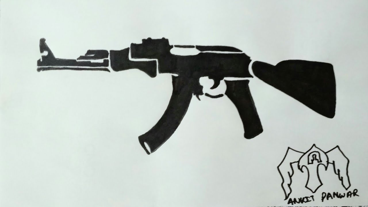 How To Draw A Ak 47 Gun Tattoo Formstep By Step Youtube