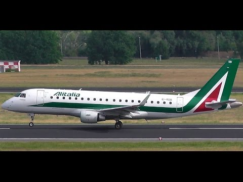 Alitalia CityLiner AZ 439 Embraer ERJ-175 EI-RDB takeoff at Berlin Tegel airport
