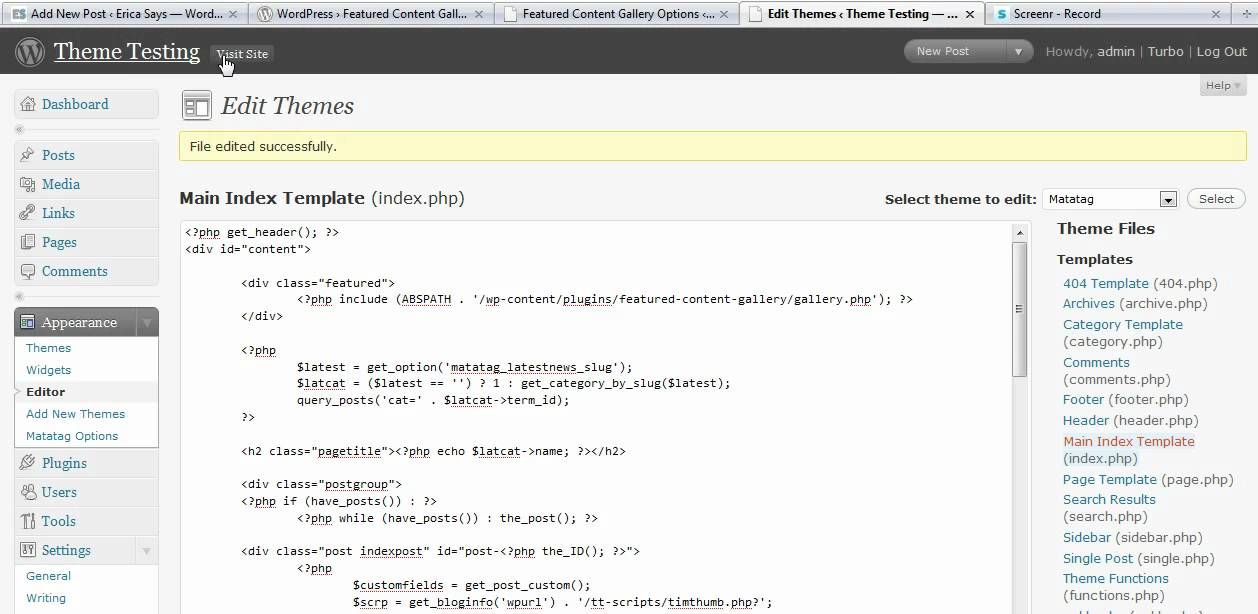 [WQZT_9871]  Adding Featured Content Gallery to index.php or home.php file of a  Wordpress Theme - YouTube | Index.php |  | YouTube