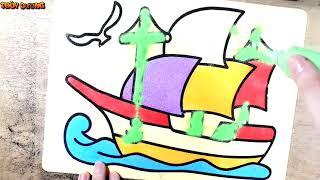 Đồ chơi trẻ em TÔ MÀU TRANH CÁT HÌNH THUYỀN BUỒM - Color Sand Paint