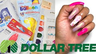 DOLLAR TREE ACRYLIC NAILS AT HOME ALL PRODUCTS ONLY $1 - *NOT CLICKBAIT* I USED A BALLOON AND PAINT